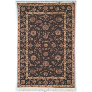 Safavieh Hand-knotted Tabriz Floral Burgundy/ Brown Wool/ Silk Rug (8' x 10')