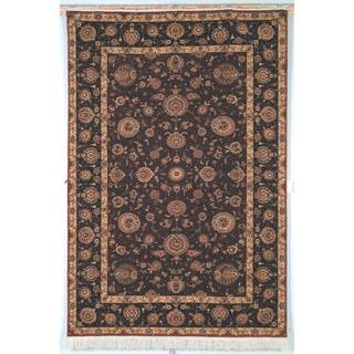 Safavieh Hand-knotted Tabriz Floral Burgundy/ Brown Wool/ Silk Rug (8' x 10')