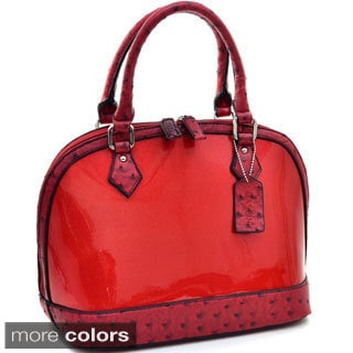 Dasein Glossy Ostrich-trim Embossed Glitter Zip-around Satchel