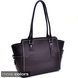 Dasein Solid Stitched Side Pocket Shoulder Bag