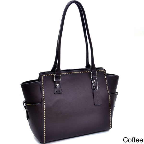 Dasein Stitched Side Pocket Shoulder Bag