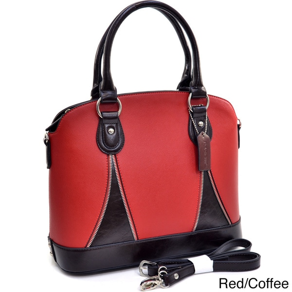 Dasein Two-tone Zipper Trim Structured Satchel