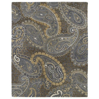 Hand-tufted Zoe Brown Paisley Wool Rug (8'x10')