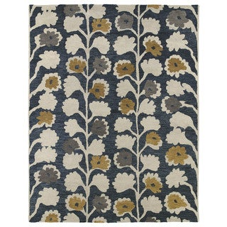 Hand-tufted Zoe Denim Blue Vines Wool Rug (8'x10')