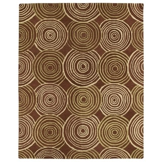 Hand-tufted Zoe Red Circles Wool Rug (8'x10')