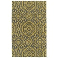 Hand-tufted Runway Grey/ Yellow Damask Wool Rug (5' x 7'9)