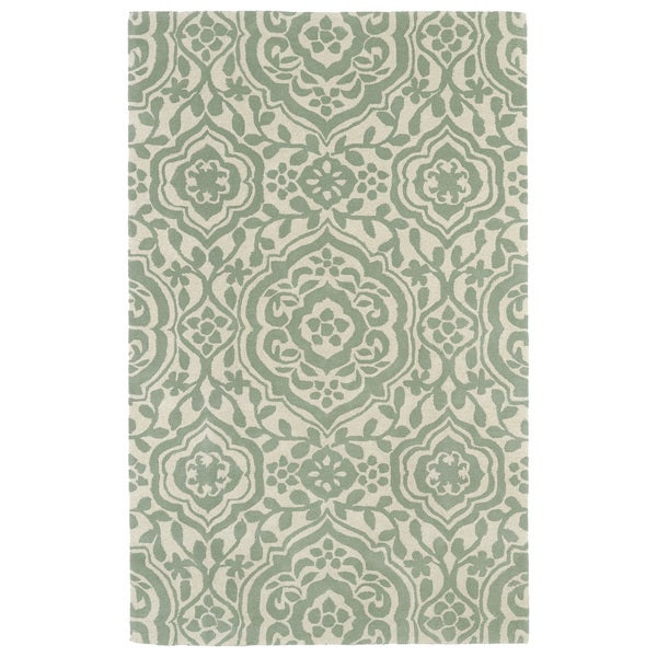 Hand-tufted Runway Mint/ Ivory Damask Wool Rug (5' x 7'9)