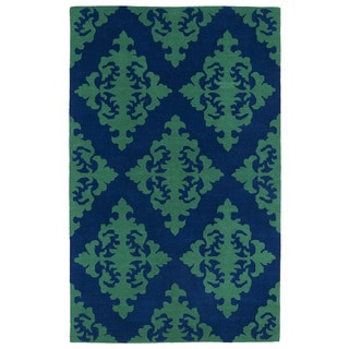Hand-tufted Runway Navy/ Emerald Damask Wool Rug (5' x 7'9)