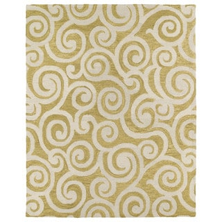 Hand-tufted Zoe Gold Scroll Wool Rug (8'x10')