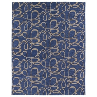Hand-tufted Zoe Blue Signature Wool Rug (8'x10')