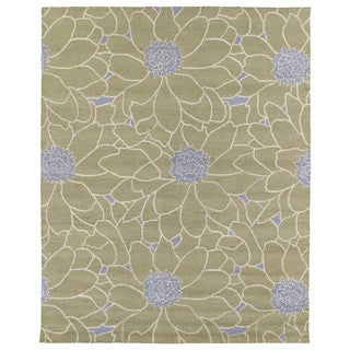 Hand-tufted Zoe Sage Green Floral Wool Rug (8'x10')