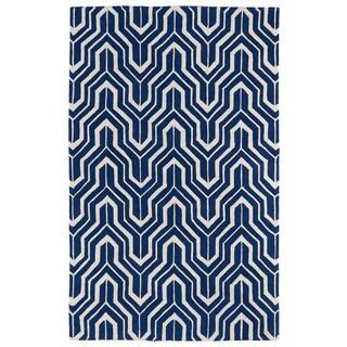 Hand-tufted Cosmopolitan Navy/ Ivory Wool Rug (9'6 x 13')