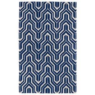 Hand-tufted Cosmopolitan Navy/ Ivory Wool Rug (8' x 11')