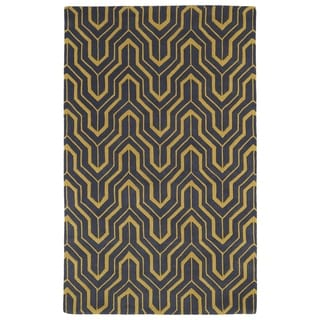 Hand-tufted Cosmopolitan Gold/ Charcoal Wool Rug (8' x 11')