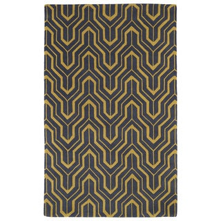 Hand-tufted Cosmopolitan Gold/ Charcoal Wool Rug (9'6 x 13')