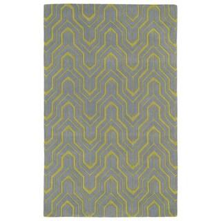 Hand-tufted Cosmopolitan Grey/ Wasabi Wool Rug (8' x 11')