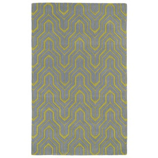 Hand-tufted Cosmopolitan Grey/ Wasabi Wool Rug (9'6 x 13')