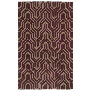 Hand-tufted Cosmopolitan Plum/ Camel Wool Rug (8' x 11')