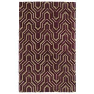 Hand-tufted Cosmopolitan Plum/ Camel Wool Rug (9'6 x 13')