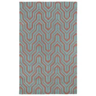 Hand-tufted Cosmopolitan Pink/ Teal Wool Rug (9'6 x 13')