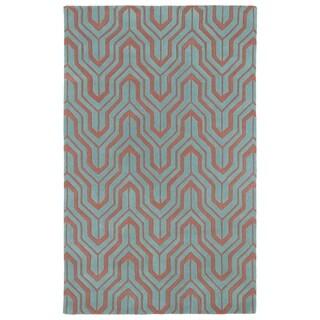 Hand-tufted Cosmopolitan Pink/ Teal Wool Rug (8' x 11')