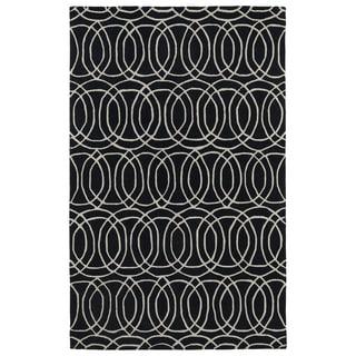 Hand-tufted Cosmopolitan Circles Black/ Ivory Wool Rug (8' x 11')