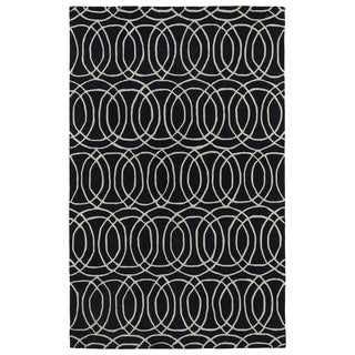 Hand-tufted Cosmopolitan Circles Black/ Ivory Wool Rug (9'6 x 13')