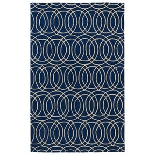 Hand-tufted Cosmopolitan Circles Navy/ Ivory Wool Rug (8' x 11')