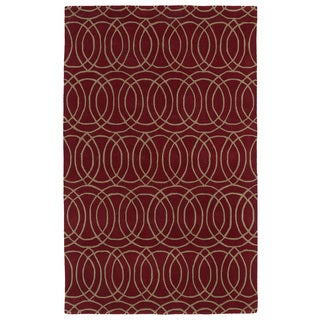 Hand-tufted Cosmopolitan Circles Red/ Camel Wool Rug (8' x 11')