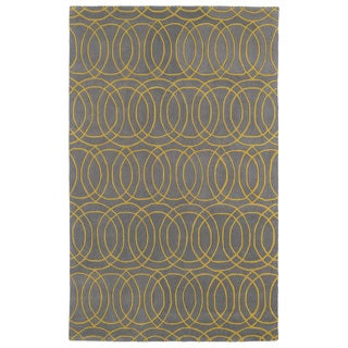 Hand-tufted Cosmopolitan Circles Yellow/ Light Brown Wool Rug (9'6 x 13')