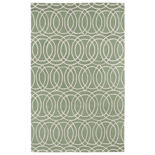 Hand-tufted Cosmopolitan Circles Mint/ Ivory Wool Rug (8'0 x 11'0)