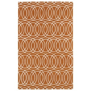 Hand-tufted Cosmopolitan Circles Orange/ Ivory Wool Rug (8' x 11')