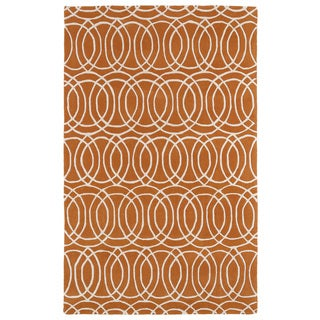 Hand-tufted Cosmopolitan Circles Orange/ Ivory Wool Rug (9'6 x 13')