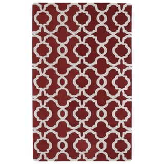Hand-tufted Cosmopolitan Trellis Red/ Ivory Wool Rug (8' x 11')
