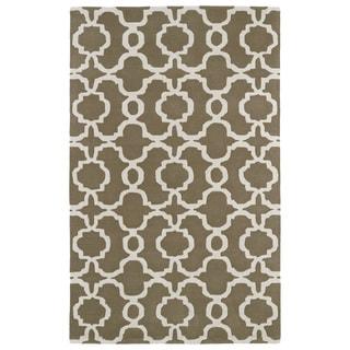 Hand-tufted Cosmopolitan Trellis Brown/ Ivory Wool Rug (9'6 x 13')
