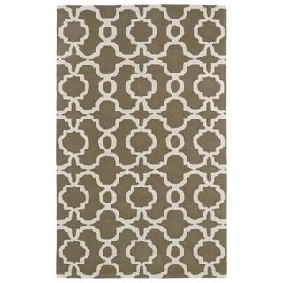 Hand-tufted Cosmopolitan Trellis Brown/ Ivory Wool Rug (8' x 11')