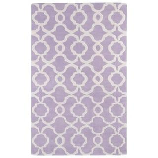 Hand-tufted Cosmopolitan Trellis Lilac/ Ivory Wool Rug (8' x 11')