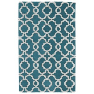 Hand-tufted Cosmopolitan Trellis Teal/ Ivory Wool Rug (8' x 11')