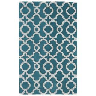 Hand-tufted Cosmopolitan Trellis Teal/ Ivory Wool Rug (9'6 x 13')