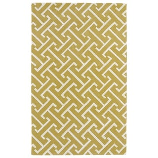 Hand-tufted Cosmopolitan Yellow/ Ivory Wool Rug (8' x 11')