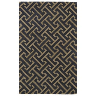 Hand-tufted Cosmopolitan Charcoal/ Brown Wool Rug (8' x 11')