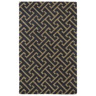 Hand-tufted Cosmopolitan Charcoal/ Brown Wool Rug (9'6 x 13')