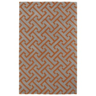 Hand-tufted Cosmopolitan Orange/ Grey Wool Rug (8' x 11')