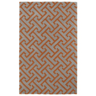 Hand-tufted Cosmopolitan Orange/ Grey Wool Rug (9'6 x 13')