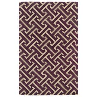 Hand-tufted Cosmopolitan Plum/ Beige Wool Rug (9'6 x 13')