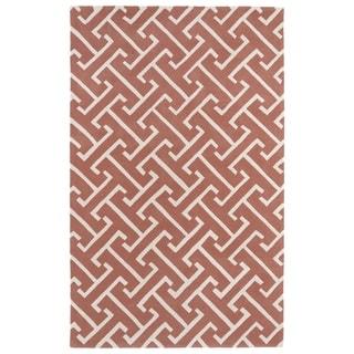 Hand-tufted Cosmopolitan Pink/ Ivory Wool Rug (8' x 11')