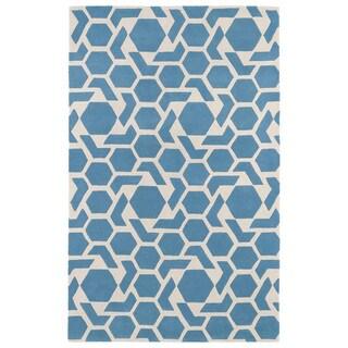 Hand-tufted Cosmopolitan Geo Blue/ Ivory Wool Rug (9'6 x 13')