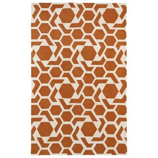 Hand-tufted Cosmopolitan Geo Orange/ Ivory Wool Rug (8' x 11')