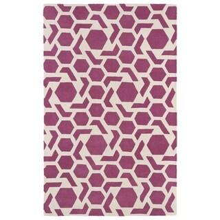Hand-tufted Cosmopolitan Geo Pink/ Ivory Wool Rug (8' x 11')