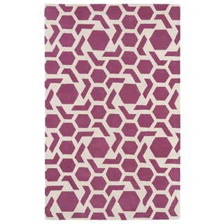 Hand-tufted Cosmopolitan Geo Pink/ Ivory Wool Rug (9'6 x 13')